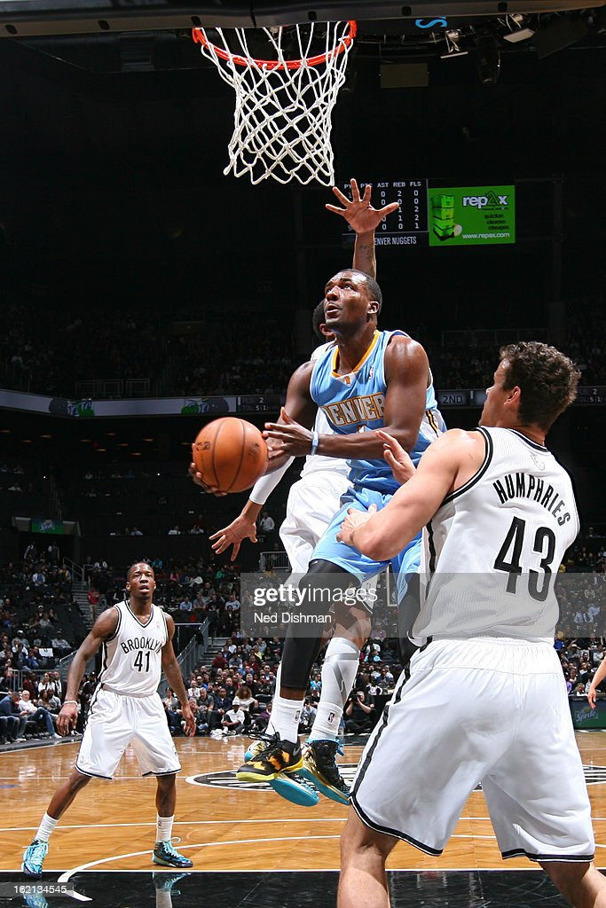 Jordan Hamilton #1 of the Denver Nuggets drives to the basket against the Brooklyn Nets on February 13, 2013 at the Barclays Center in the Brooklyn borough of New York City in New York City.