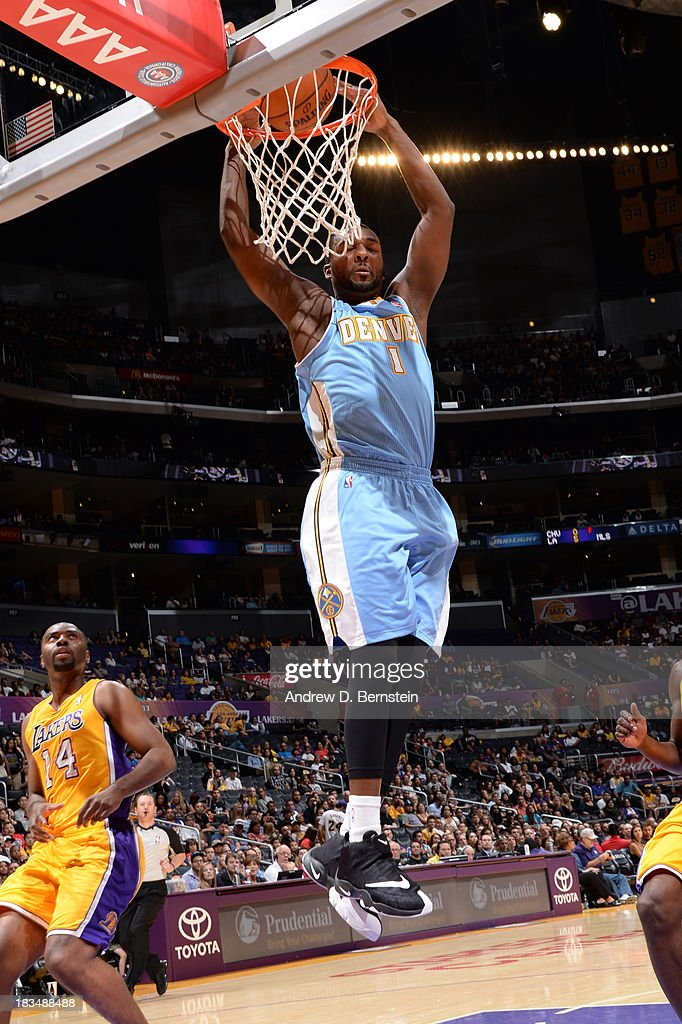 Jordan Hamilton #1 of the Denver Nuggets dunks during a game against the Los Angeles Lakers at STAPLES Center on October 10, 2013 at in Los Angeles, California.