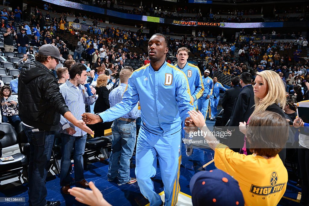 Jordan Hamilton #1 of the Denver Nuggets gets introduced before the game against the Utah Jazz on January 5, 2013 at the Pepsi Center in Denver, Colorado.