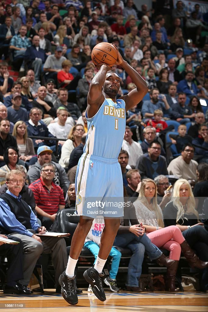 Jordan Hamilton #1 of the Denver Nuggets goes for a jump shot during the game between the Minnesota Timberwolves and the Denver Nuggets on November 21, 2012 at Target Center in Minneapolis, Minnesota.
