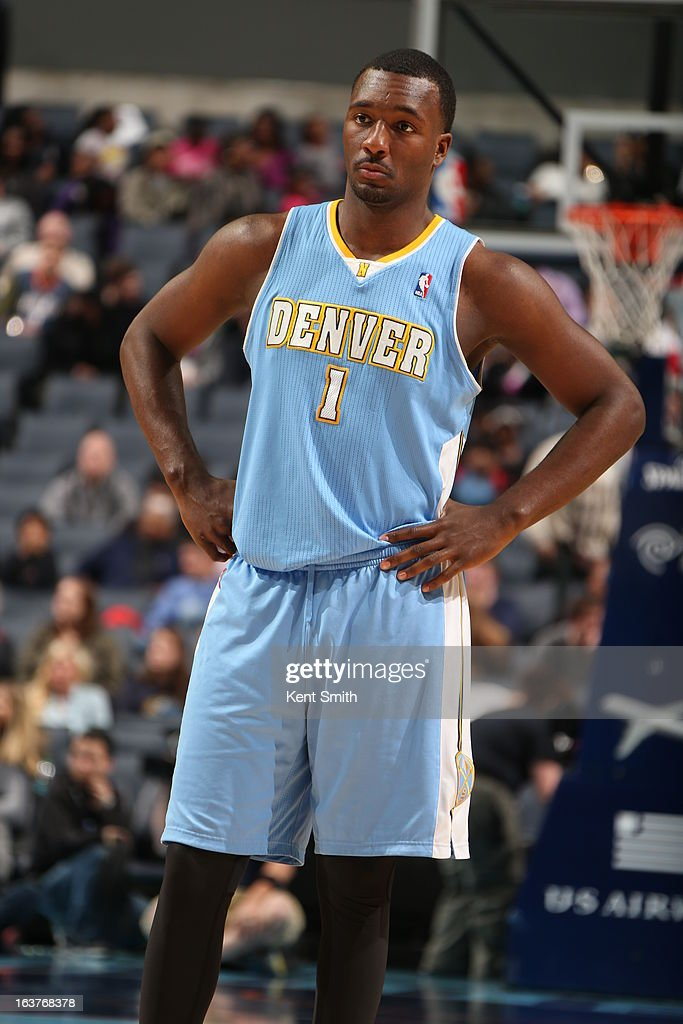 Jordan Hamilton #1 of the Denver Nuggets stands on the court during the game against the Charlotte Bobcats at the Time Warner Cable Arena on February 23, 2013 in Charlotte, North Carolina.
