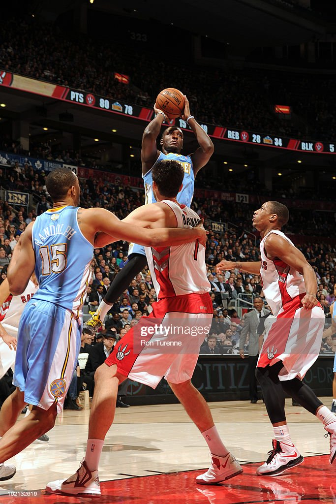 Jordan Hamilton #1 of the Denver Nuggets takes a shot against the Toronto Raptors on February 12, 2013 at the Air Canada Centre in Toronto, Ontario, Canada.