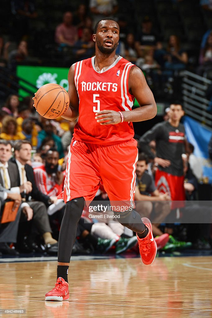 Jordan Hamilton #5 of the Houston Rockets handles the ball against the Denver Nuggets on April 9, 2014 at the Pepsi Center in Denver, Colorado.