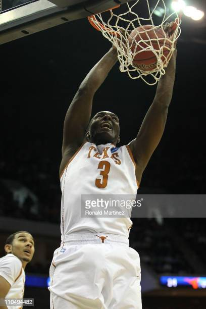 Jordan Hamilton of the Texas Longhorns dunks the ball against the Arizona Wildcats during the third round of the 2011 NCAA men's basketball...