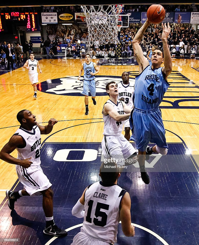 Jordan Hare #4 of the Rhode Island Rams goes up for a shot against the Butler Bulldogs at Hinkle Fieldhouse on February 2, 2013 in Indianapolis, Indiana. Butler defeated Rhode Island 75-68.