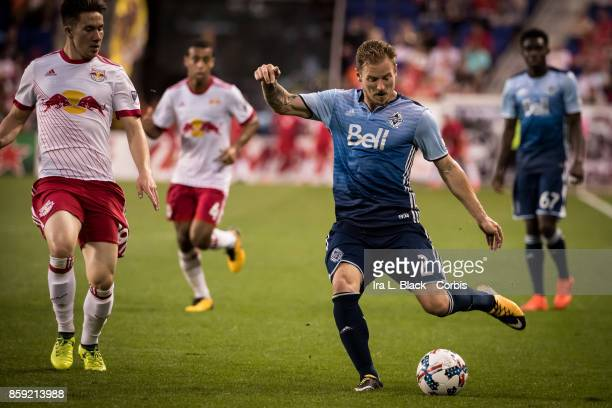 Jordan Harvey of the Vancouver Whitecaps FC takes the shote on goal during the MLS match between New York Red Bulls and Vancouver Whitecaps FC at the...