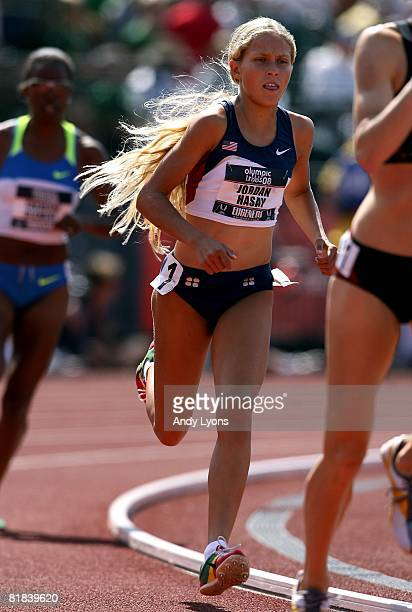 Jordan Hasay competes in the women's 1500 final during day eight of the US Track and Field Olympic Trials at Hayward Field on July 6 2008 in Eugene...