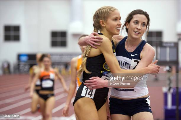 Jordan Hasay left of Oregon hugs Sheila Reid right of Villanova after edging her out in the 3000 Meter Run during the Division I Men's and Women's...