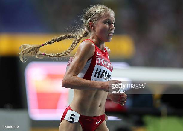 Jordan Hasay of the United States competes in the Women's 10000 final during Day Two of the 14th IAAF World Athletics Championships Moscow 2013 at...
