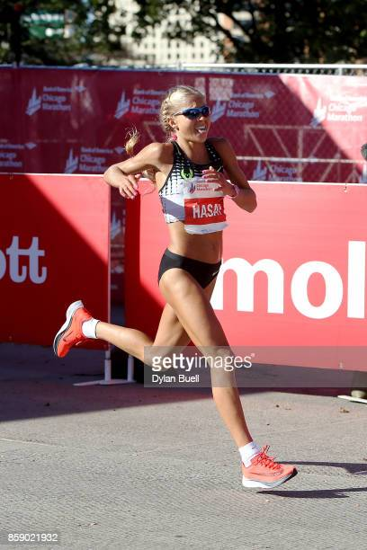 Jordan Hasay of the United States finishes with a time of 22057 during the Bank of America Chicago Marathon on October 8 2017 in Chicago Illinois
