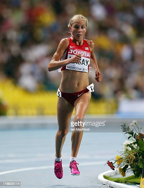 Jordan Hasay of USA competes in the Women's 10000m during Day Two of the 14th IAAF World Athletics Championships Moscow 2013 at Luzhniki Stadium on...