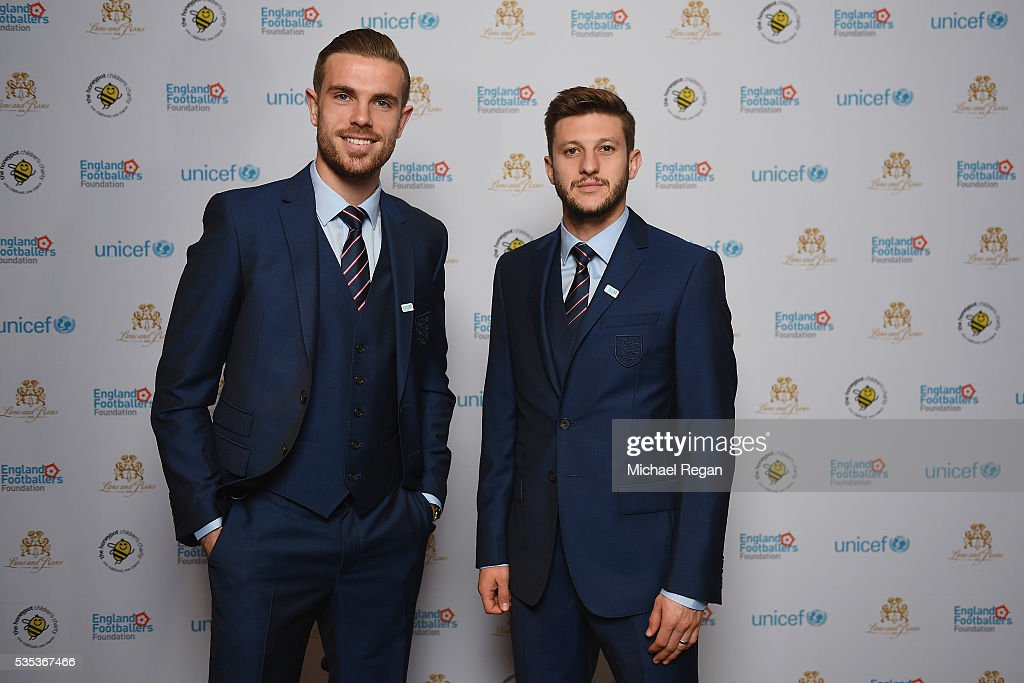 <a gi-track='captionPersonalityLinkClicked' href=/galleries/search?phrase=Jordan+Henderson&family=editorial&specificpeople=4940390 ng-click='$event.stopPropagation()'>Jordan Henderson</a> and <a gi-track='captionPersonalityLinkClicked' href=/galleries/search?phrase=Adam+Lallana&family=editorial&specificpeople=5475862 ng-click='$event.stopPropagation()'>Adam Lallana</a> pose during the England Footballers Foundation charity event at Sopwell House on May 29, 2016 in St Albans, England.