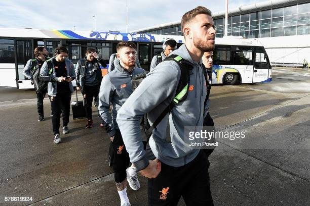 Jordan Henderson and Alberto Moreno of Liverpool before departing for the group E Champions League match between Sevilla and Liverpool at Liverpool...