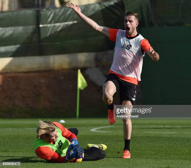 Jordan Henderson and Loris Karius of Liverpool during a training session at La Manga on February 16 2017 in La Manga Spain