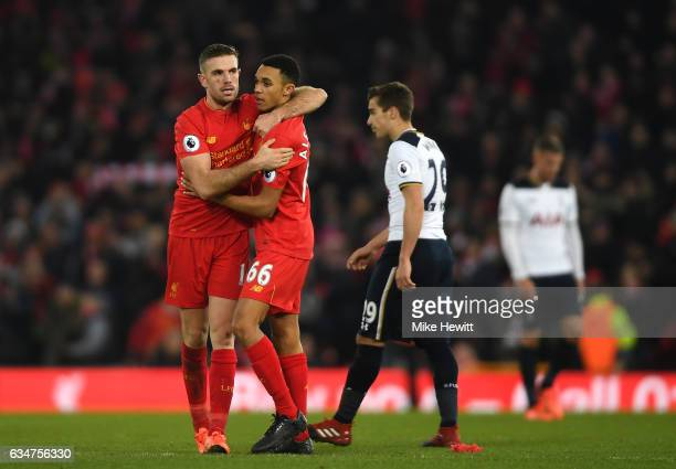 Jordan Henderson and Trent AlexanderArnold of Liverpool celebrate after the Premier League match between Liverpool and Tottenham Hotspur at Anfield...