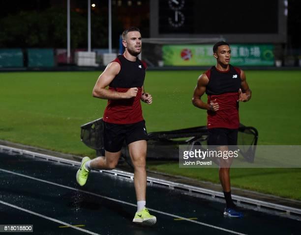 Jordan Henderson and Trent AlexanderArnold of Liverpool during a training session on July 18 2017 at the Tseung Kwan O Sports Ground Hong Kong