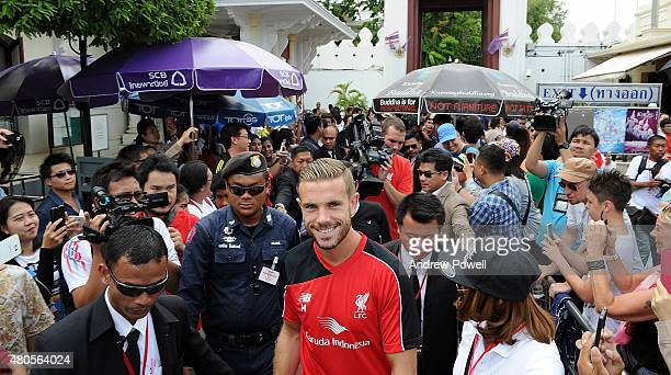 Jordan Henderson captain of Liverpool during a tour of the Grand Palace on July 13 2015 in Bangkok Thailand
