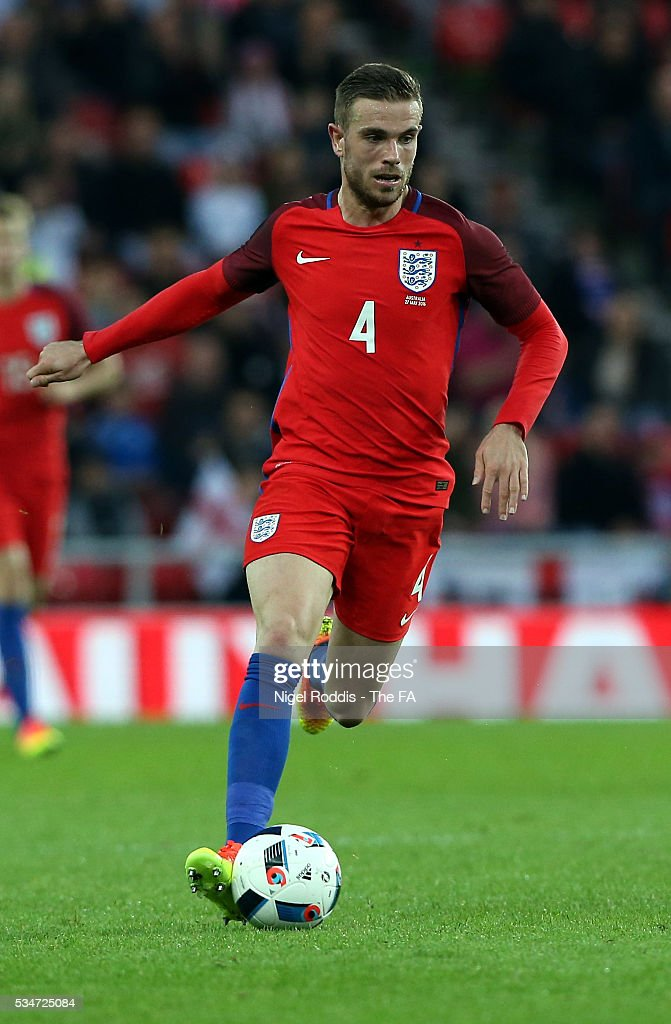 <a gi-track='captionPersonalityLinkClicked' href=/galleries/search?phrase=Jordan+Henderson&family=editorial&specificpeople=4940390 ng-click='$event.stopPropagation()'>Jordan Henderson</a> of England during the International Friendly match between England and Australia at Stadium of Light on May 27, 2016 in Sunderland, England.
