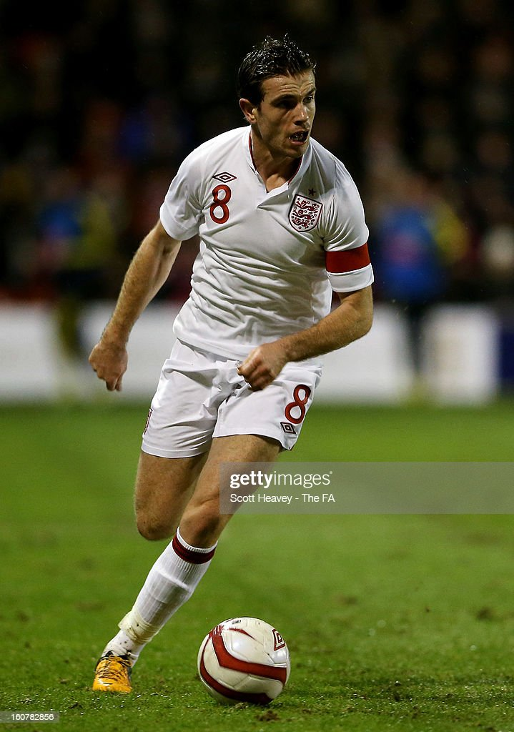 Jordan Henderson of England during the International Match between England Under 21's and Sweden Under 21's at Banks' Stadium on February 5, 2013 in Walsall, England.