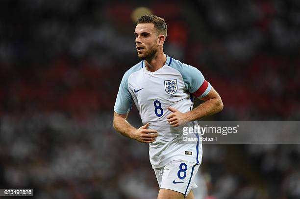 Jordan Henderson of England in action during the international friendly match between England and Spain at Wembley Stadium on November 15 2016 in...
