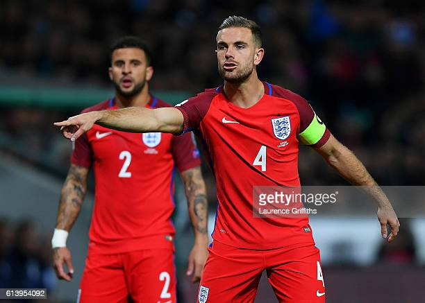 Jordan Henderson of England signals to his teammates during the FIFA 2018 World Cup Qualifier Group F match between Slovenia and England at Stadion...