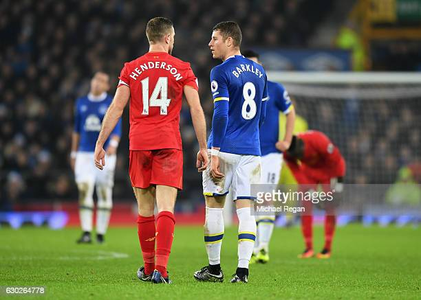 Jordan Henderson of Liverpool and Ross Barkley of Everton argue during the Premier League match between Everton and Liverpool at Goodison Park on...