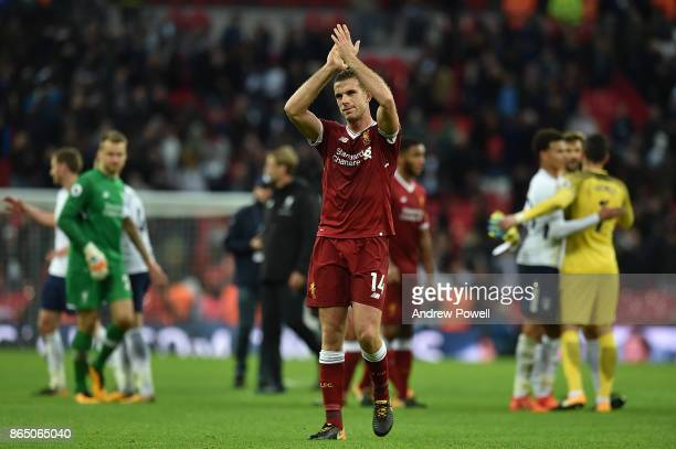 Jordan Henderson of Liverpool at the end of the Premier League match between Tottenham Hotspur and Liverpool at Wembley Stadium on October 22 2017 in...