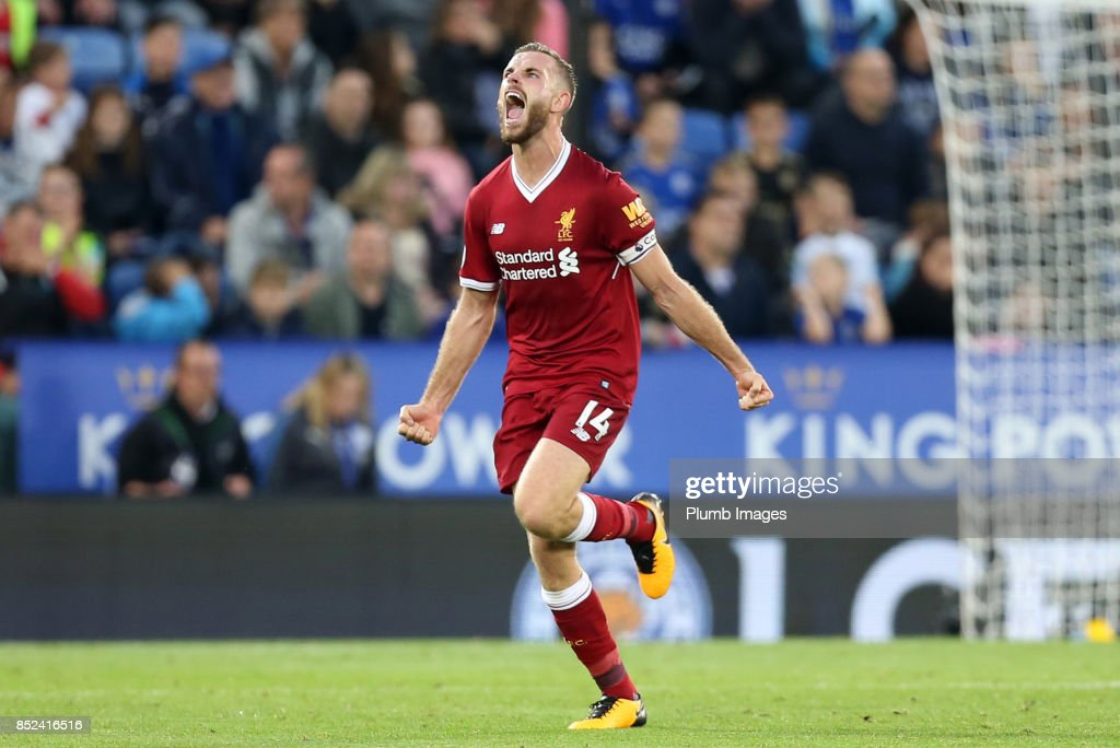 Jordan Henderson of Liverpool celebrates after putting Liverpool 3-1 ahead during the Premier League match between Leicester City and Liverpool at The King Power Stadium on September 23rd, 2017 in Leicester, United Kingdom