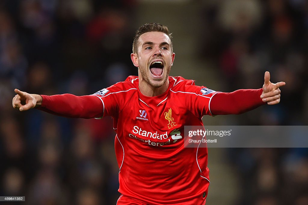 <a gi-track='captionPersonalityLinkClicked' href=/galleries/search?phrase=Jordan+Henderson&family=editorial&specificpeople=4940390 ng-click='$event.stopPropagation()'>Jordan Henderson</a> of Liverpool celebrates after scoring his team's third goal during the Barclays Premier League match between Leicester City and Liverpool at The King Power Stadium on December 2, 2014 in Leicester, England.