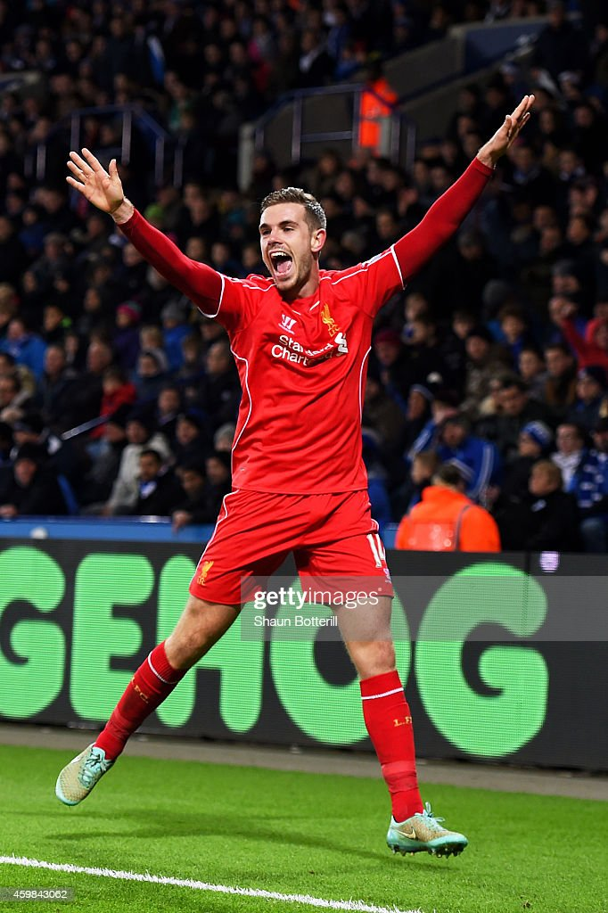 Jordan Henderson of Liverpool celebrates after scoring his team's third goal during the Barclays Premier League match between Leicester City and Liverpool at The King Power Stadium on December 2, 2014 in Leicester, England.