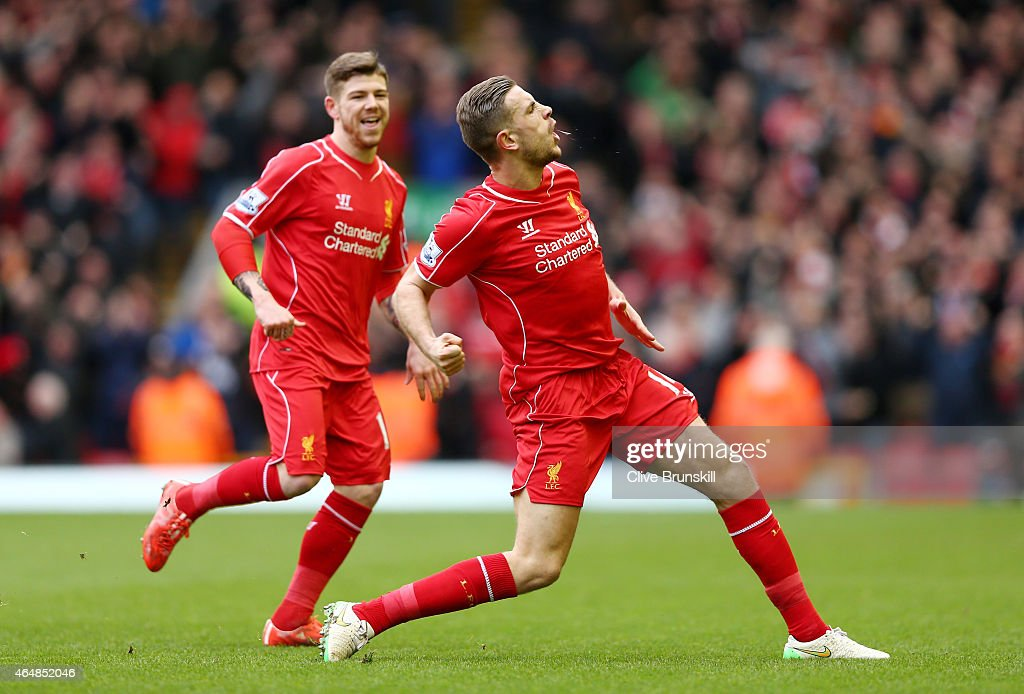 <a gi-track='captionPersonalityLinkClicked' href=/galleries/search?phrase=Jordan+Henderson&family=editorial&specificpeople=4940390 ng-click='$event.stopPropagation()'>Jordan Henderson</a> (R) of Liverpool celebrates after scoring the opening goal during the Barclays Premier League match between Liverpool and Manchester City at Anfield on March 1, 2015 in Liverpool, England.