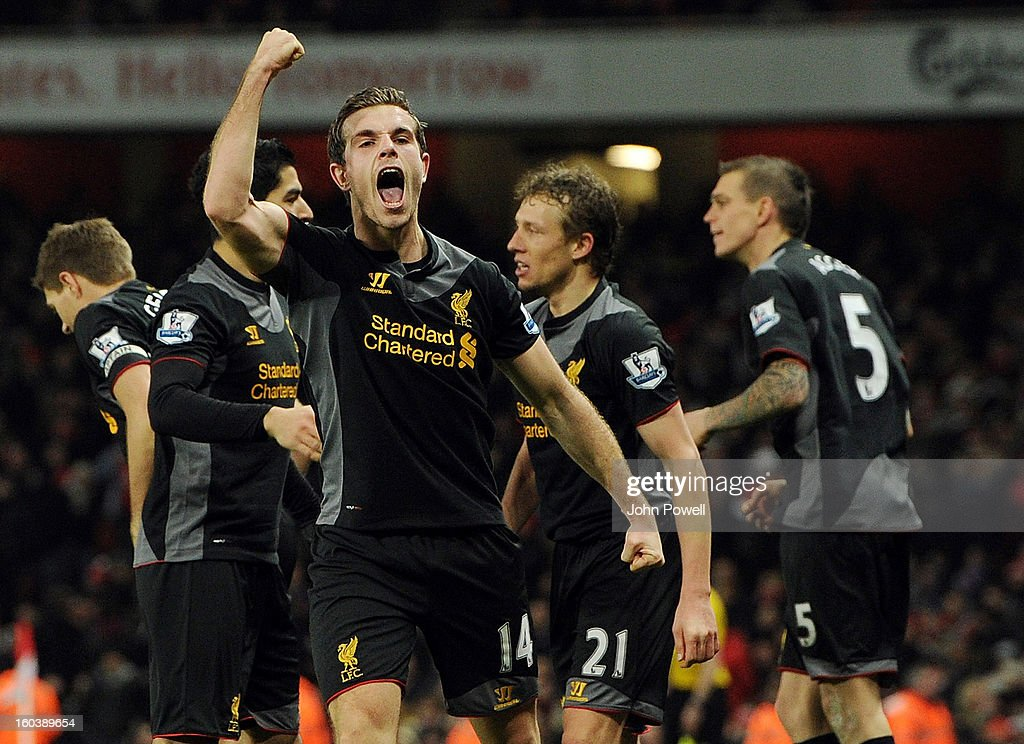 <a gi-track='captionPersonalityLinkClicked' href=/galleries/search?phrase=Jordan+Henderson&family=editorial&specificpeople=4940390 ng-click='$event.stopPropagation()'>Jordan Henderson</a> of Liverpool celebrates after scoring the second during the Barclays Premier League match between Arsenal and Liverpool at Emirates Stadium on January 30, 2013 in London, England.