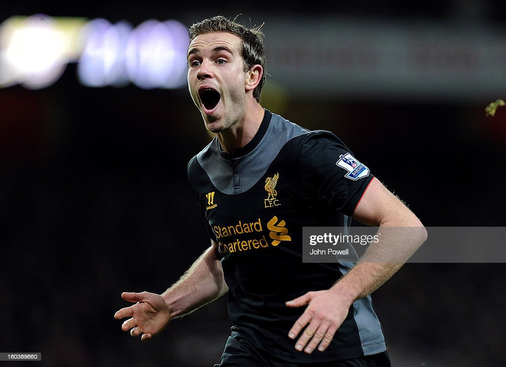 Jordan Henderson of Liverpool celebrates after scoring the second during the Barclays Premier League match between Arsenal and Liverpool at Emirates Stadium on January 30, 2013 in London, England.