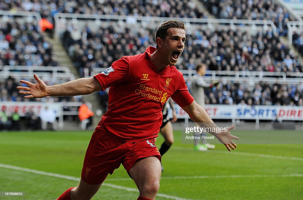 <a gi-track='captionPersonalityLinkClicked' href=/galleries/search?phrase=Jordan+Henderson&family=editorial&specificpeople=4940390 ng-click='$event.stopPropagation()'>Jordan Henderson</a> of Liverpool celebrates after scoring the second during the Barclays Premier League match between Newcastle United and Liverpool at St James' Park on April 27, 2013 in Newcastle upon Tyne, England.