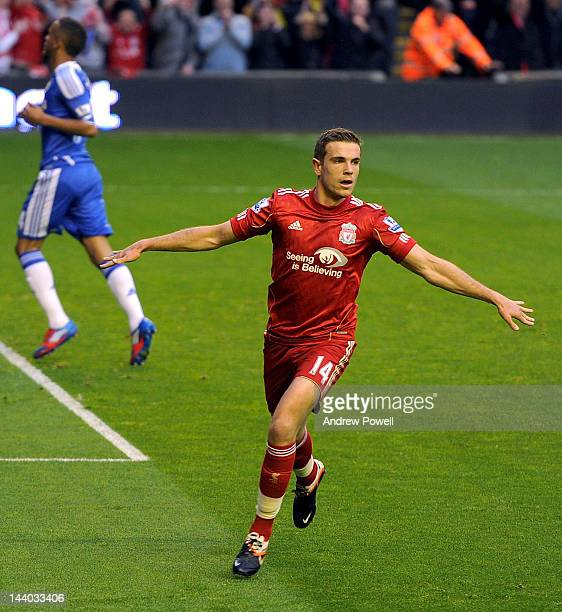 Jordan Henderson of Liverpool celebrates his goal during the Barclays Premier League match between Liverpool and Chelsea at Anfield on May 8 2012 in...