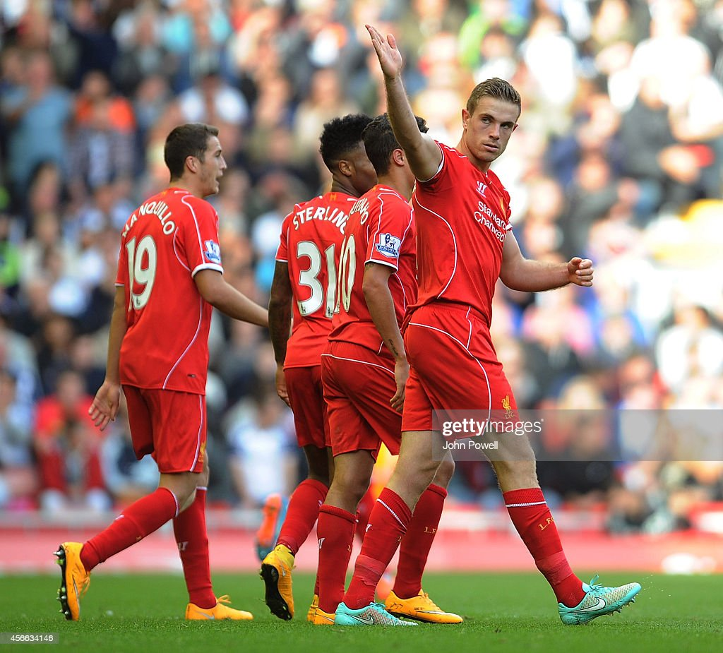 <a gi-track='captionPersonalityLinkClicked' href=/galleries/search?phrase=Jordan+Henderson+-+Soccer+Player&family=editorial&specificpeople=4940390 ng-click='$event.stopPropagation()'>Jordan Henderson</a> of Liverpool celebrates his goal during the Barclays Premier League match between Liverpool and West Bromwich Albion at Anfield on October 4, 2014 in Liverpool, England.