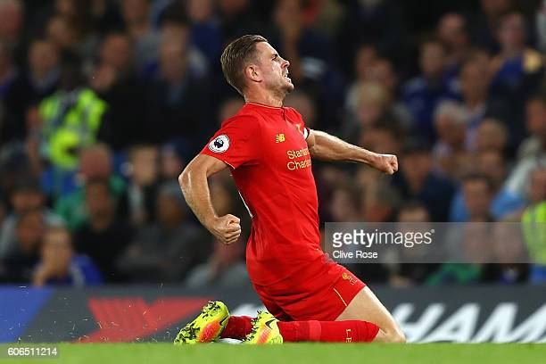 Jordan Henderson of Liverpool celebrates scoring his sides second goal during the Premier League match between Chelsea and Liverpool at Stamford...