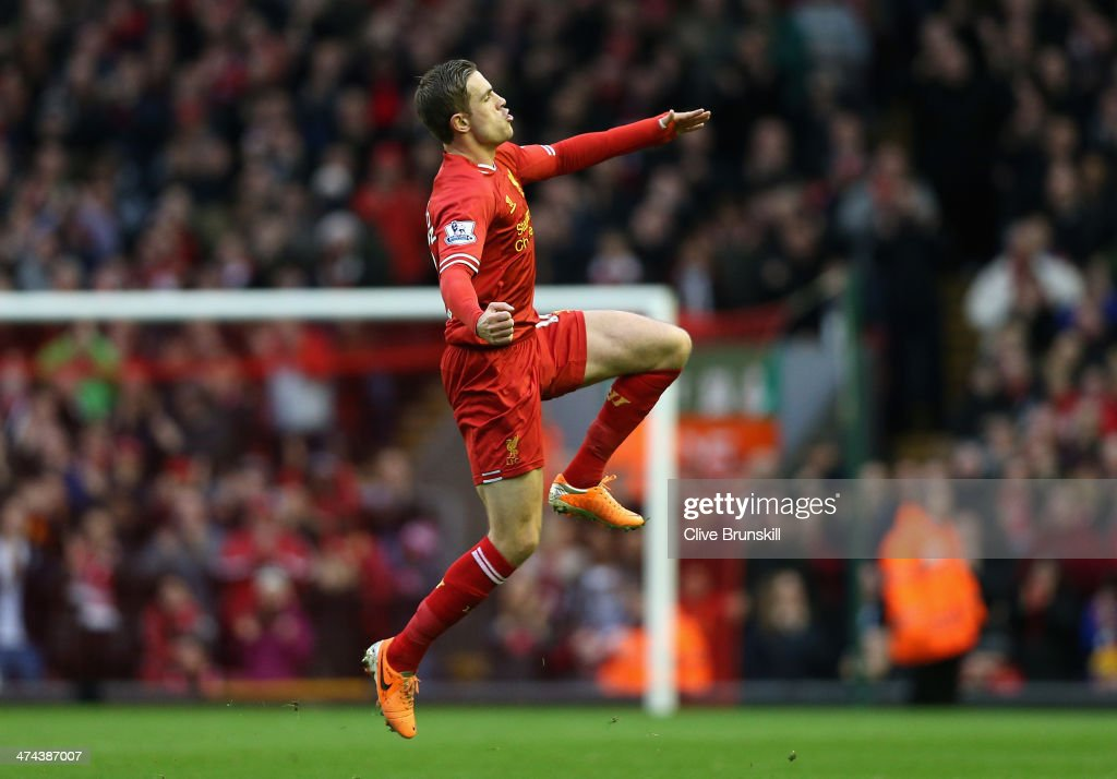 <a gi-track='captionPersonalityLinkClicked' href=/galleries/search?phrase=Jordan+Henderson&family=editorial&specificpeople=4940390 ng-click='$event.stopPropagation()'>Jordan Henderson</a> of Liverpool celebrates scoring the second goal during the Barclays Premier League match between Liverpool and Swansea City at Anfield on February 23, 2014 in Liverpool, England.