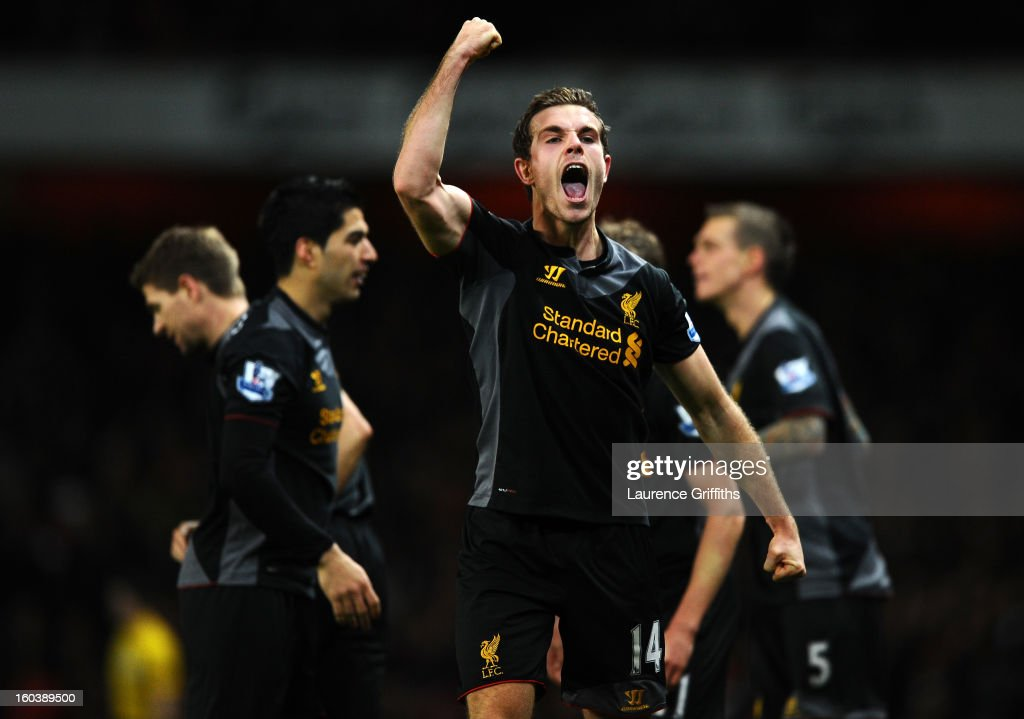 <a gi-track='captionPersonalityLinkClicked' href=/galleries/search?phrase=Jordan+Henderson&family=editorial&specificpeople=4940390 ng-click='$event.stopPropagation()'>Jordan Henderson</a> of Liverpool celebrates scoring their second goal during the Barclays Premier League match between Arsenal and Liverpool at Emirates Stadium on January 30, 2013 in London, England.