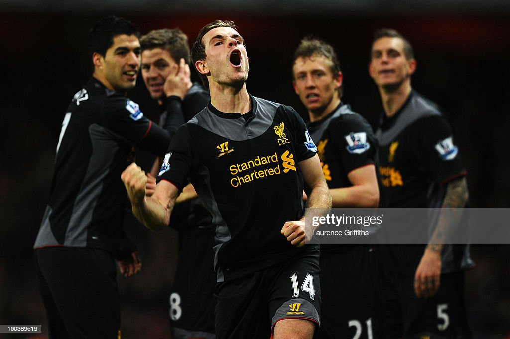Jordan Henderson of Liverpool celebrates scoring their second goal during the Barclays Premier League match between Arsenal and Liverpool at Emirates Stadium on January 30, 2013 in London, England.