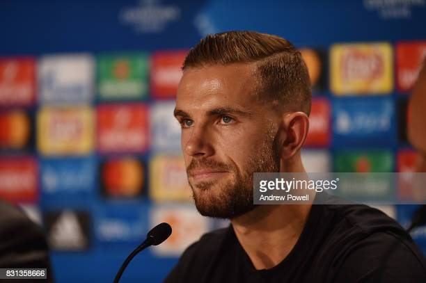 Jordan Henderson of Liverpool during a press conference at Wirsol RheinNeckarArena on August 14 2017 in Sinsheim Germany
