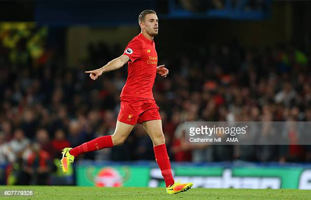 Jordan Henderson of Liverpool during the Premier League match between Chelsea and Liverpool at Stamford Bridge on September 16 2016 in London England