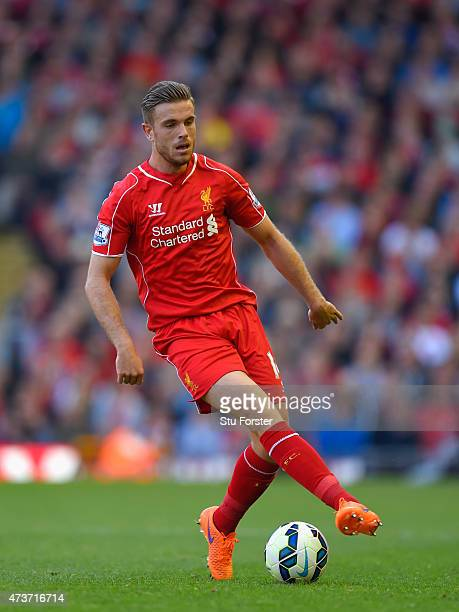 Jordan Henderson of Liverpool in action during the Barclays Premier League match betrween Liverpool and Crystal Palace at Anfield on May 16 2015 in...