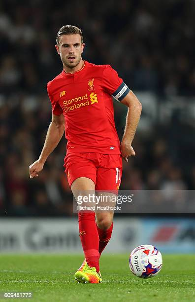 Jordan Henderson of Liverpool in action during the EFL Cup Third Round match between Derby County and Liverpool at iPro Stadium on September 20 2016...