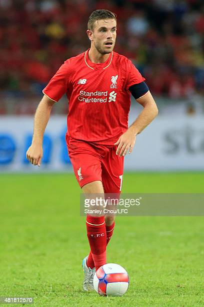 Jordan Henderson of Liverpool in action during the international friendly match between Malaysia XI and Liverpool FC at Bukit Jalil National Stadium...