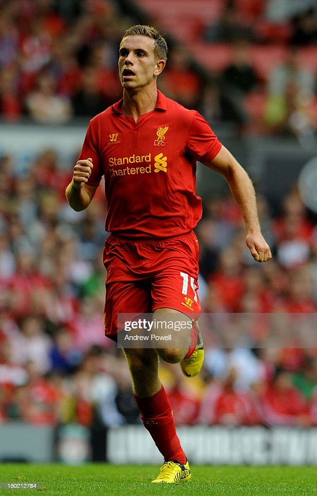 <a gi-track='captionPersonalityLinkClicked' href=/galleries/search?phrase=Jordan+Henderson&family=editorial&specificpeople=4940390 ng-click='$event.stopPropagation()'>Jordan Henderson</a> of Liverpool in action during the Pre Season Friendly between Liverpool and Bayer Leverkusen at Anfield on August 12, 2012 in Liverpool, England.