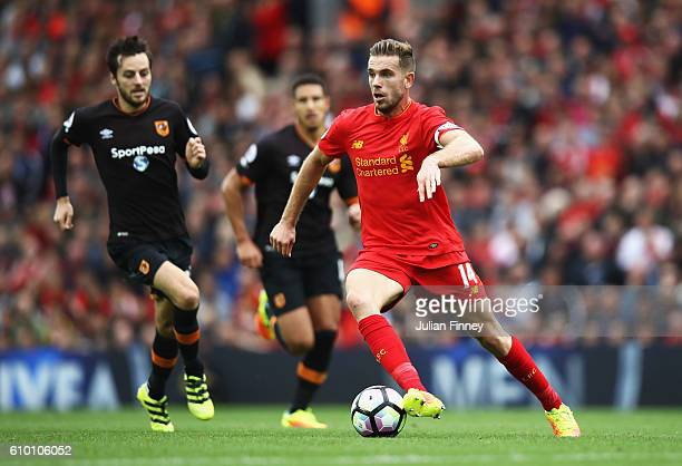 Jordan Henderson of Liverpool in action during the Premier League match between Liverpool and Hull City at Anfield on September 24 2016 in Liverpool...
