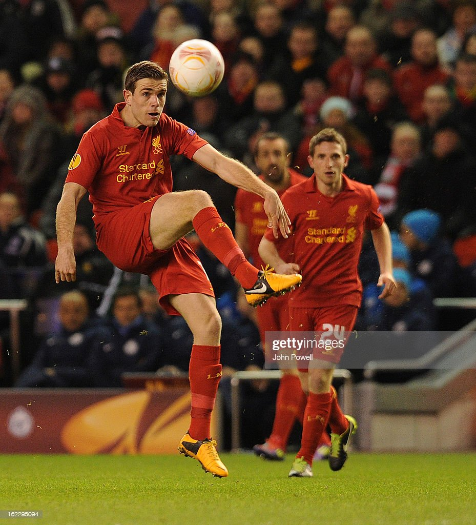<a gi-track='captionPersonalityLinkClicked' href=/galleries/search?phrase=Jordan+Henderson+-+Soccer+Player&family=editorial&specificpeople=4940390 ng-click='$event.stopPropagation()'>Jordan Henderson</a> of Liverpool in action during the UEFA Europa League Round of 32 second leg match between Liverpool and FC Zenit St Petersburg at Anfield on February 21, 2013 in Liverpool, England.