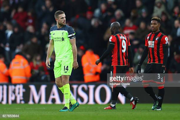 Jordan Henderson of Liverpool looks dejected in defeat after the Premier League match between AFC Bournemouth and Liverpool at Vitality Stadium on...