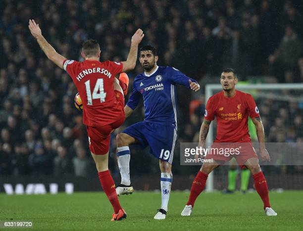 Jordan Henderson of Liverpool with Diego Costa of Chelsea during the Premier League match between Liverpool and Chelsea at Anfield on January 31 2017...